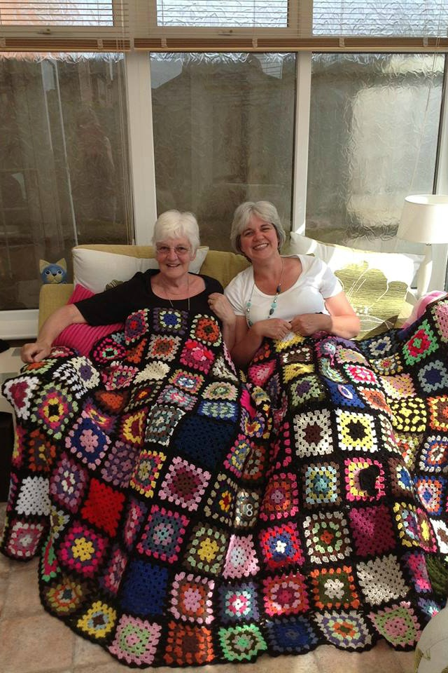 Completed blanket by Sharon and Kath